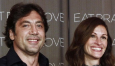 Is Julia Roberts wearing a fug see-through blouse around Javier Bardem?
