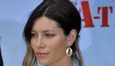 Is Jessica Biel wearing a shoulder-padded pastel power suit from the 1980s?