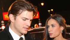 Demi Moore shows off her dutiful husband, tweaked face & Vicky Beckham dress