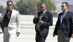 Brad Pitt, Matt Damon and George Clooney on the Oceans 13 set