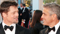 Brad Pitt and George Clooney at the Burn After Reading premiere