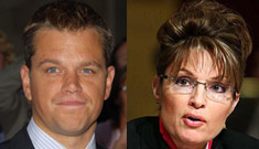 "Matt Damon: Sarah Palin as VP is ""absurd… like a bad Disney movie"""