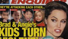 "Enquirer: ""Brad & Angie's Kids Turn Violent"" = best   cover ever"