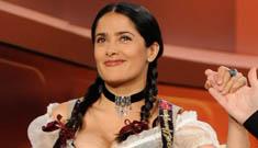 "Salma Hayek shows half a nip slip on ""Wetten, Das?"" (possibly NSFW)"