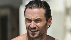 Hugh Jackman goes swimming