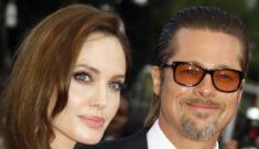 Angelina Jolie in chocolate, satin Versace: lovely, bridesmaid-y or fug?