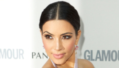 Kim Kardashian in a slinky black gown at the UK Glamour event: lovely or tacky?
