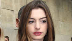 Anne Hathaway in Valentino at Paris Fashion Week: Mob widow or chic?