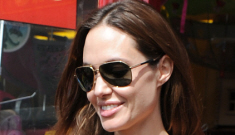 """Brad & Angelina rent an entire """"private"""" train for their entourage (and a film crew)"""