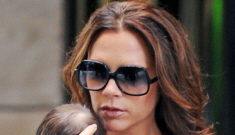 Victoria Beckham is already back to a size zero, brought Harper to Fashion Week