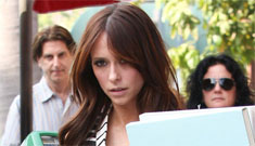 Jennifer Love Hewitt's striped vest & shorts with tights: cute or bad combo?