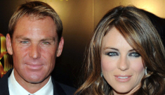 Liz Hurley's evil plot involves turning Shane Warne into orange leather