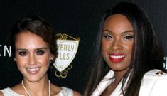 Jessica Alba and Jennifer Hudson at a lighting  ceremony, pretty in white
