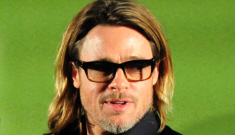 Brad Pitt gives a pep talk to an emotional, suicidal man at a 'Moneyball' screening
