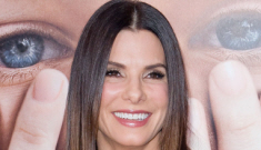 Sandra Bullock in an Alexander McQueen suit: too shiny & cheap-looking?