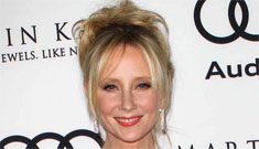 Anne Heche in a contrasting color block gown: crazy or striking?