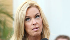 Kate Gosselin is getting desperate, does Extra in a shiny short striped dress