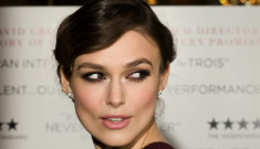 Keira Knightley in burgundy Burberry in London: beautiful or busted?