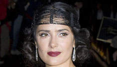 Salma Hayek at a benefit in a head band