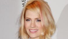 "January Jones debuts ""pink"" hair while promoting Mad Men: cute or dumb?"