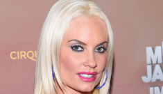 Coco Austin in stretchy blue at Cirque Du Soleil's opening night: almost demure?