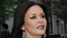 Catherine Zeta Jones in grey Michael Kors: lovely and suspiciously busty?