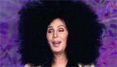 Cher wears giant afro wig to Chaz's GLAAD award, at least her a** wasn't hanging out?