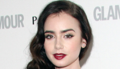 Lily Collins in green dark McQueen at Glamour UK   event: beautiful or busted?