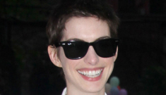 Anne Hathaway in crisp white Stella McCartney in NYC:   lovely or awkward?
