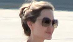 Angelina Jolie arrives in Sarajevo in a stylish travel sack dress: goth-fug or cute?