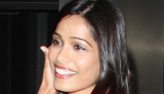 Freida Pinto in a mod, orange-red Raoul shift in LA: gorgeous or unflattering?