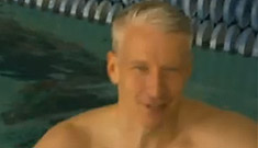 A Shirtless Anderson Cooper races Michael Phelps