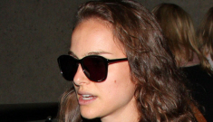 Natalie Portman & Benjamin Millepied hide their ginger (!!) baby at LAX