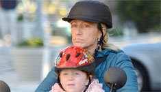 Edie Falco criticized for strapping daughter in front on scooter: unsafe or no biggie?