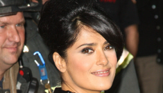 """""""Salma Hayek is all about the sateen, fishnets & beehive these days"""" links"""