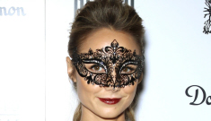 Stacy Keibler in a Peter Som LBD at a Vegas masquerade ball: pretty or grumpy?