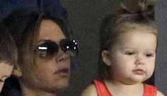 Harper Beckham cheers on the LA Galaxy in a pretty red dress: so adorable!?