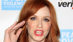 """""""Christina Hendricks covers up her ladies in a modest   green dress"""" links"""