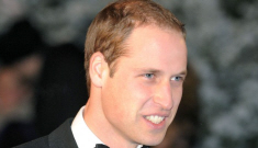 Prince William goes solo, makes an awkward joke about Kate's morning sickness