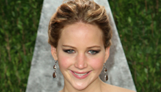 Jennifer Lawrence in shimmery Calvin Klein at the Vanity Fair party: perfection?