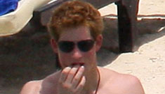 Prince Harry shirtless with his girlfriend Chelsy Davy on the beach