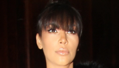 Kim Kardashian wears a leather maternity skirt: unfortunate & unflattering?
