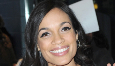 Rosario Dawson in pink Bottega Veneta in NYC: gorgeous or cloying?