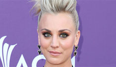 Kaley Cuoco's black BCBG dress & pompadour: too edgy for the ACMs or cool?
