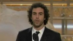 Sacha Baron Cohen booed for Madonna, Charlie Sheen jokes