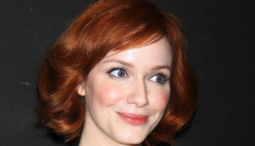 Christina Hendricks in polka dots & floral in NYC: tragic, top-heavy or amazing?