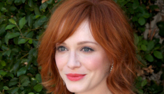 Christina Hendricks in a bold print for charity benefit: unflattering or stunning?