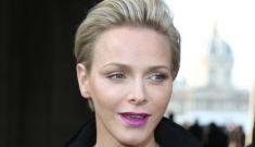 Princess Charlene's fuchsia lips & Louis Vuitton look: improved or try-hard?