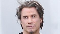 John Travolta shows off his newest wiglet in Boston: amazeballs or skunky-tragic?