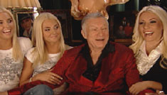 Hugh Hefner clutches young girlfriends, talks about new love